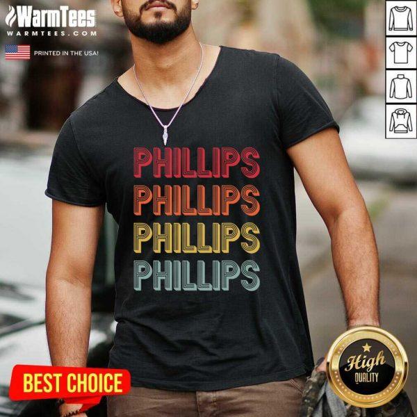 Phillips Surname Vintage Birthday Reunion V-neck - Design By Warmtees.com
