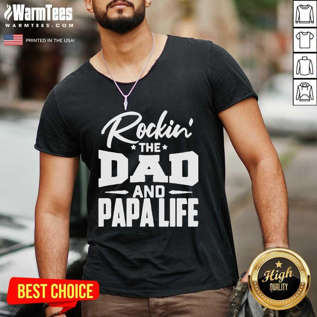 Rockin' The Dad And Papalife V-neck  - Design By Warmtees.com