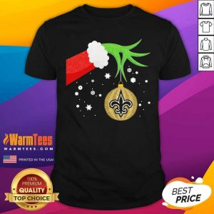 The Grinch Hand Holding Ornament New Orleans Saints Christmas Shirt - Design By Warmtees.com