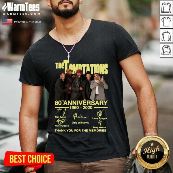 The Temptations 60th Anniversary 1960 2020 Thank You For The Memories Signature V-neck - Design By Warmtees.com