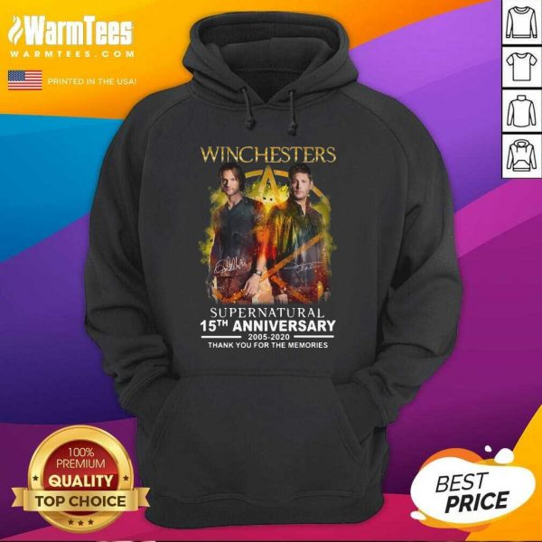 Winchesters Supernatural 15th Anniversary 2005 2020 Thank You For The Memories Signature Hoodie - Design By Warmtees.com
