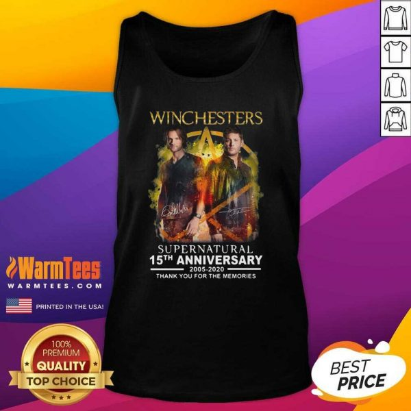 Winchesters Supernatural 15th Anniversary 2005 2020 Thank You For The Memories Signature Tank Top - Design By Warmtees.com