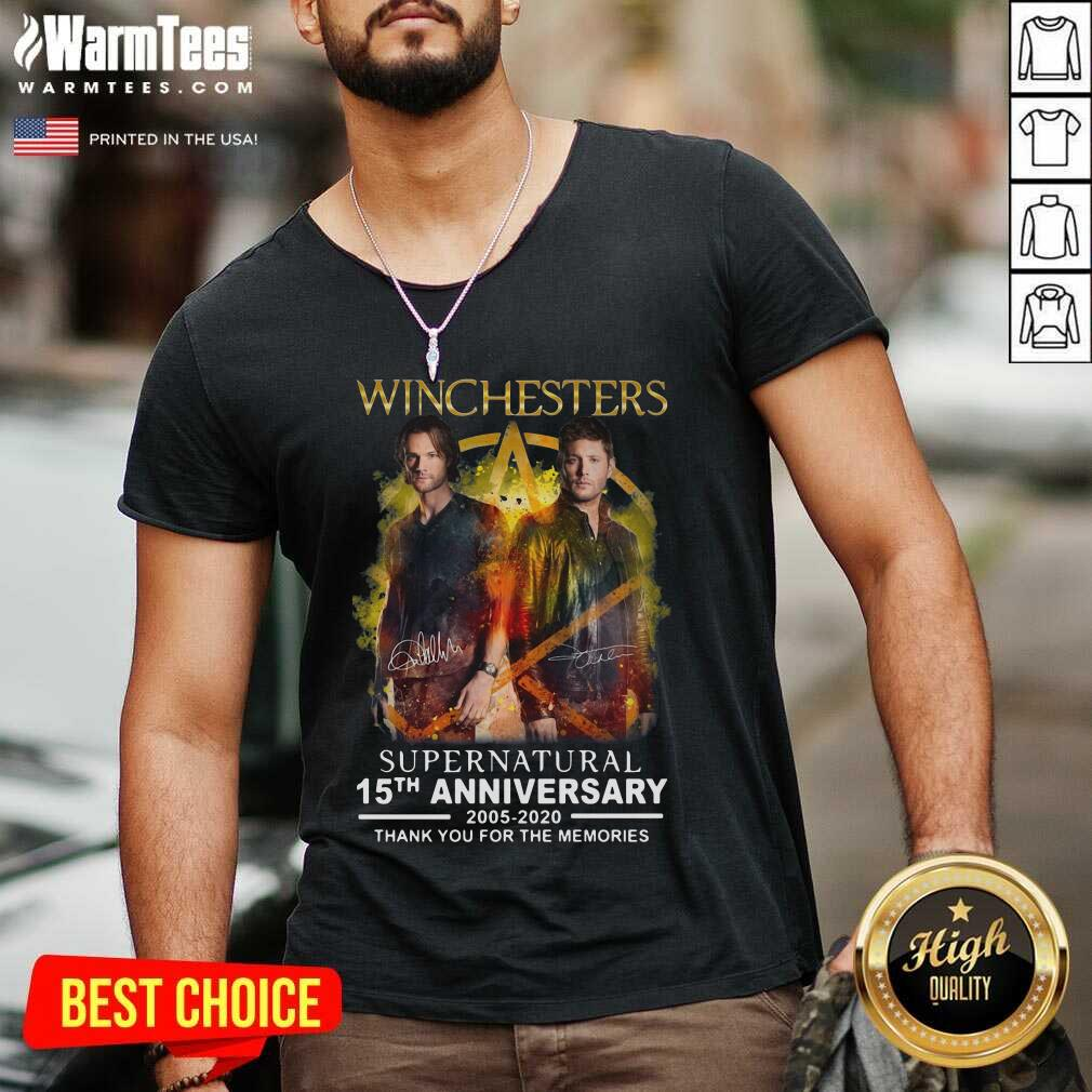 Winchesters Supernatural 15th Anniversary 2005 2020 Thank You For The Memories Signature V-neck  - Design By Warmtees.com