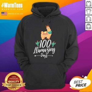 100 Llamazing Days Llama 100th Day Of School Teacher Kids Hoodie