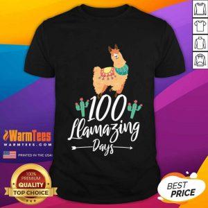 100 Llamazing Days Llama 100th Day Of School Teacher Kids Shirt