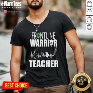 Frontline Warrior Teacher Good Gift For Teachers V-neck - Design By Warmtees.com