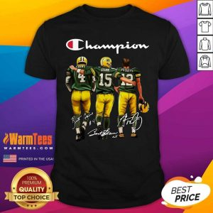 Green Bay Packers Favre Starr Rodgers 2021 Champion Signatures Shirt - Design By Warmtees.com