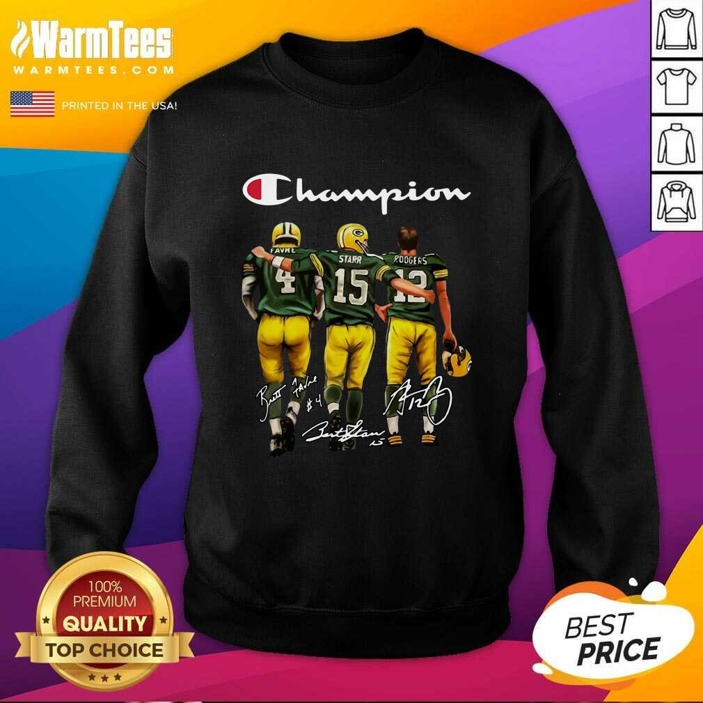 Green Bay Packers Favre Starr Rodgers 2021 Champion Signatures SweatShirt  - Design By Warmtees.com