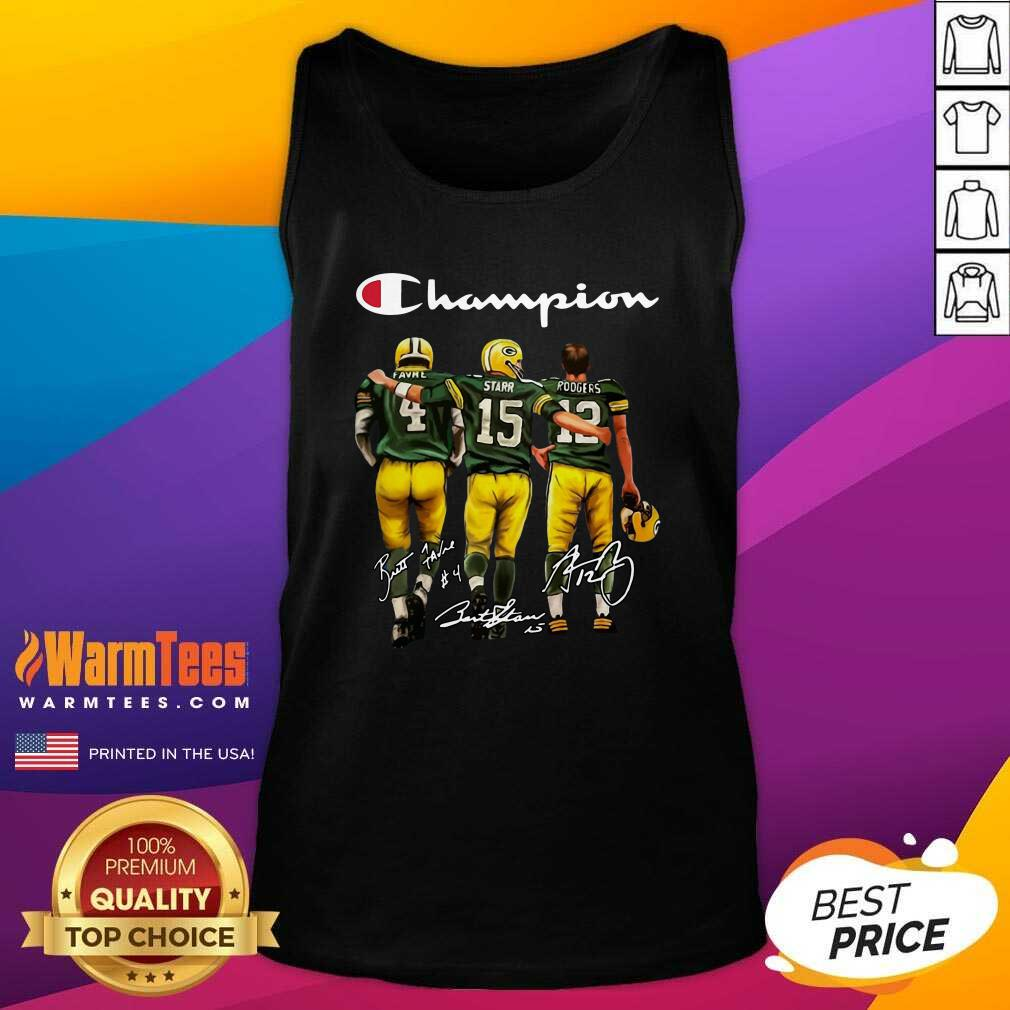Green Bay Packers Favre Starr Rodgers 2021 Champion Signatures Tank Top  - Design By Warmtees.com