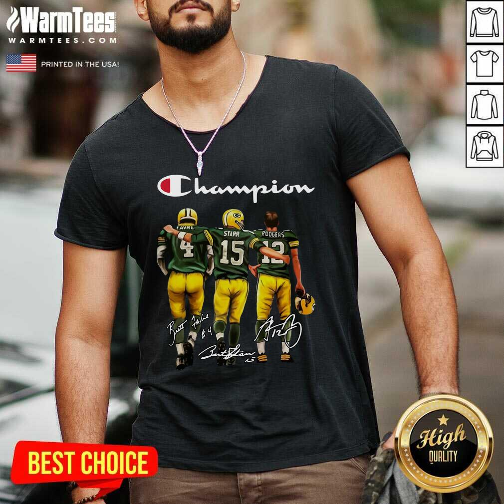 Green Bay Packers Favre Starr Rodgers 2021 Champion Signatures V-neck  - Design By Warmtees.com
