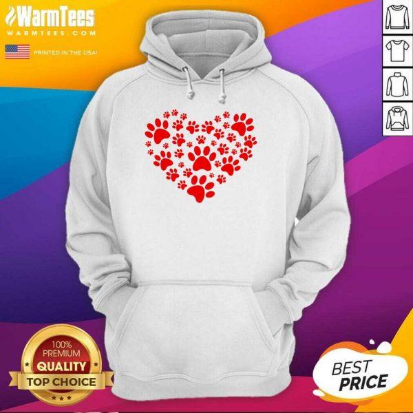 Heart Paw Print Dog Love Valentines Day Gift Hoodie