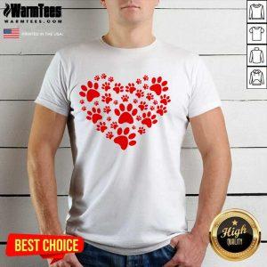 Heart Paw Print Dog Love Valentines Day Gift Shirt