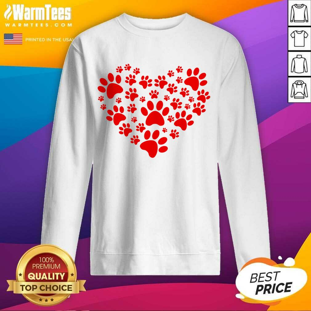 Heart Paw Print Dog Love Valentines Day Gift SweatShirt