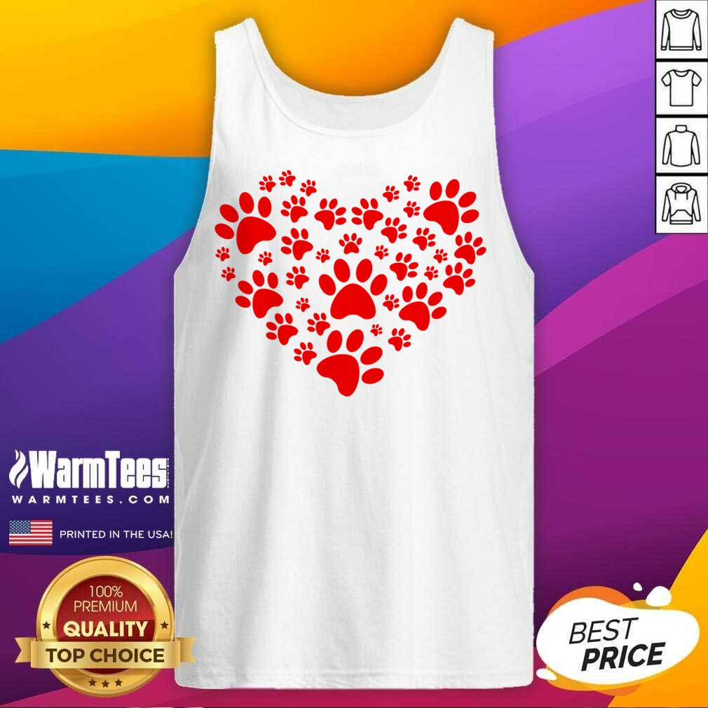 Heart Paw Print Dog Love Valentines Day Gift Tank Top