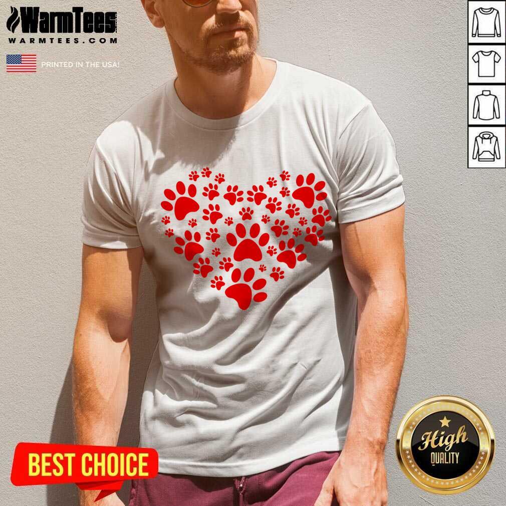 Heart Paw Print Dog Love Valentines Day Gift V-neck