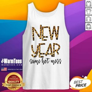 New Year Same Hot Mess 2021 Eve Party Leopard Tank Top - Design By Warmtees.com