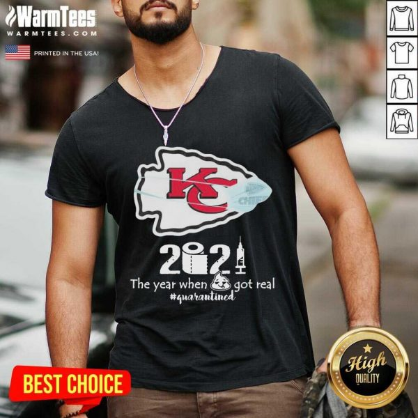 Kansas City Chiefs Face Mask 2021 The Year When Shit Got Real #quarantined V-neck