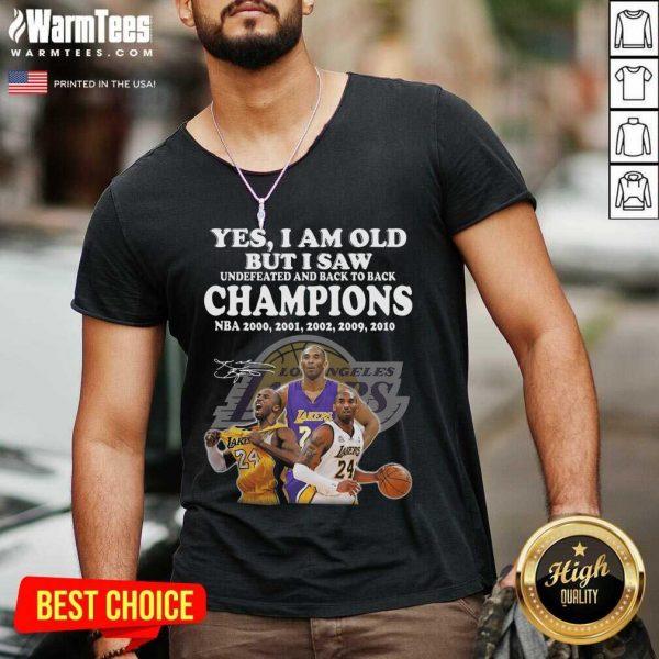Kobe Bryant Yes I Am Old Champions NBA 2020 2001 2002 2009 2010 Signature V-neck - Design By Warmtees.com