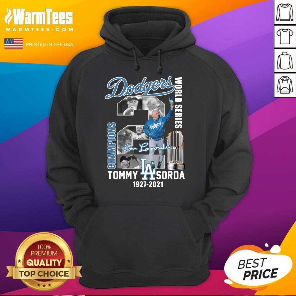 Los Angeles Dodgers World Series Champions Tommy Sorda 1927 2021 Signature Hoodie