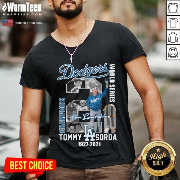 Los Angeles Dodgers World Series Champions Tommy Sorda 1927 2021 Signature V-neck