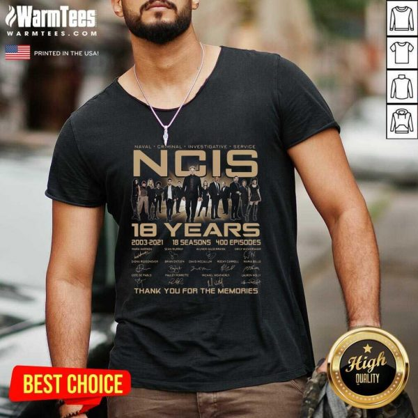 Naval Criminal Ncis 18 Years Signatures Thank You For The Memories V-neck - Design By Warmtees.com