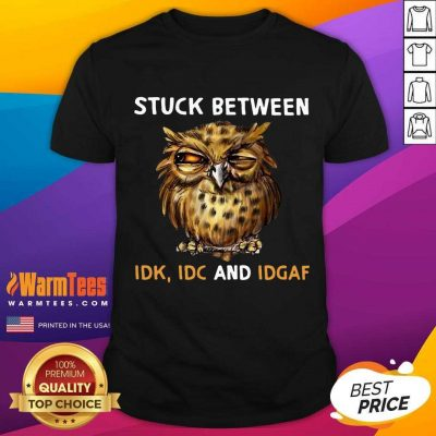 Owl Stuck Between Idk Idc And Idgaf Shirt