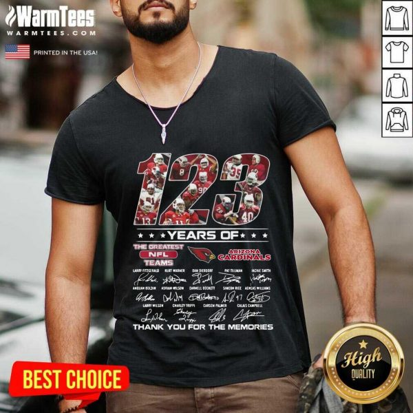 123 Years Of The Nfl Teams Arizona Cardinals Signatures Thanks For The Memories V-neck
