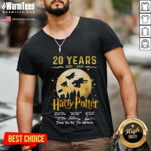 20 Years 2001 2021 Of Harry Potter Signature Thank You For The Memories V-neck