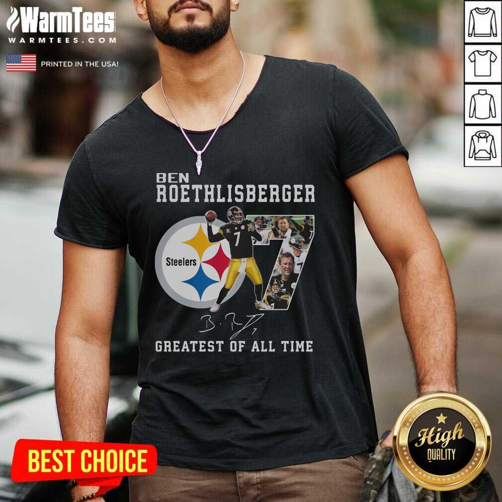 Ben Roethlisberger Signature Greatest Of All Time Steelers V-neck  - Design By Warmtees.com