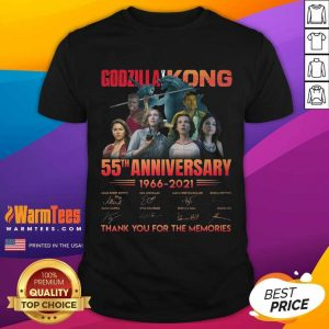 Godzilla Vs Kong 55th Anniversary 1966 2021 Thank You For The Memories Signatures Shirt