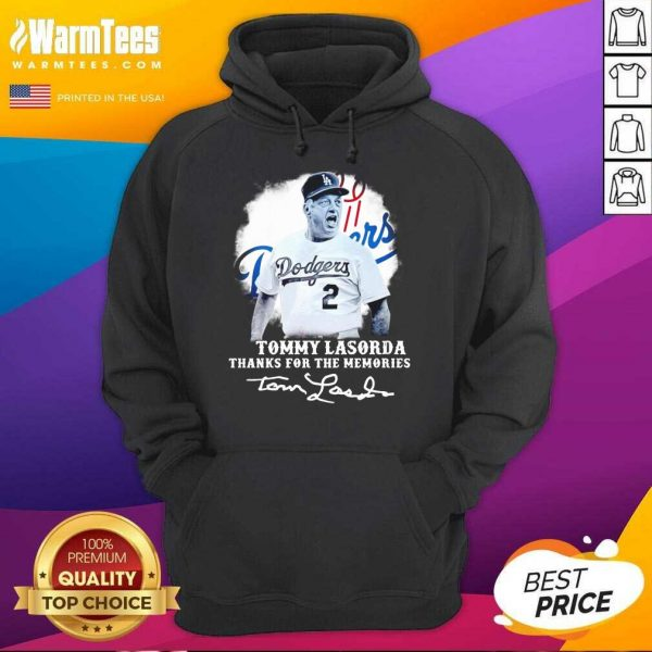 Los Angeles Dodgers Tommy Lasorda Thanks For The Memories Signatures Hoodie