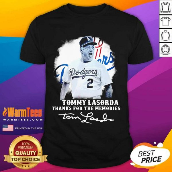 Los Angeles Dodgers Tommy Lasorda Thanks For The Memories Signatures Shirt