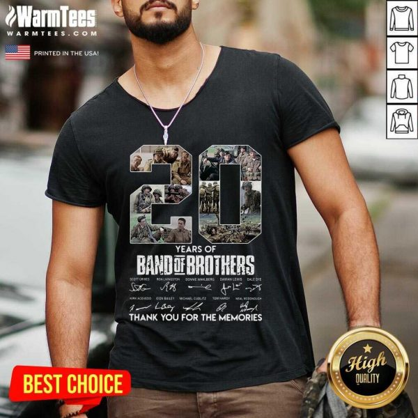 20 Years Of Band Of Brothers Signatures Thank You For The Memories V-neck - Design By Warmtees.com