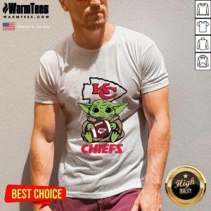Baby Yoda Hug Kansas City Chiefs Football V-neck - Design By Warmtees.com