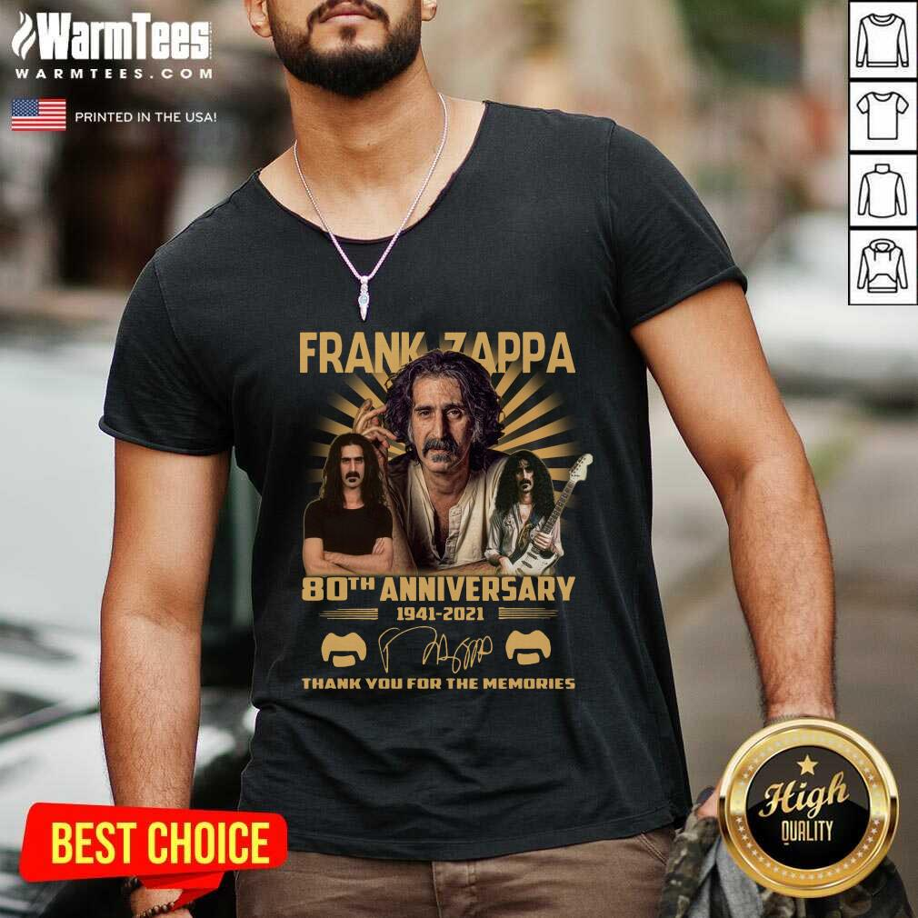 Frank Zappa 80th Anniversary Thank You For The Memories Signature V-neck  - Design By Warmtees.com