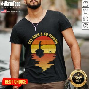 Get High And Go Fishing Sunset V-neck