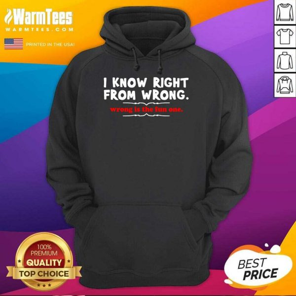 I Know Right From Wrong Is The Fun One Hoodie