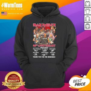 Iron Maiden 46th Anniversary 1975 2021 Thank You For The Memories Signatures Hoodie