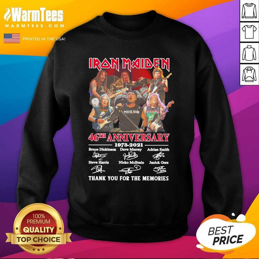 Iron Maiden 46th Anniversary 1975 2021 Thank You For The Memories Signatures SweatShirt