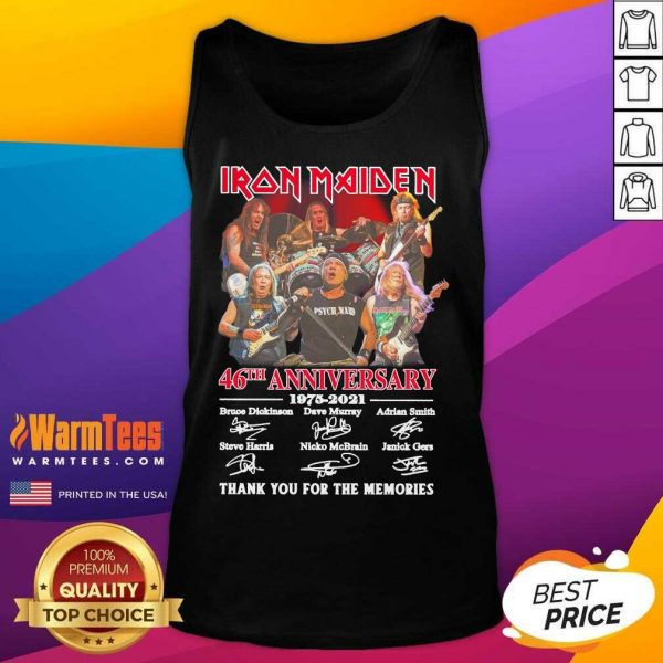 Iron Maiden 46th Anniversary 1975 2021 Thank You For The Memories Signatures Tank Top