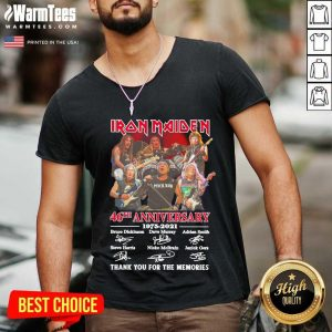 Iron Maiden 46th Anniversary 1975 2021 Thank You For The Memories Signatures V-neck