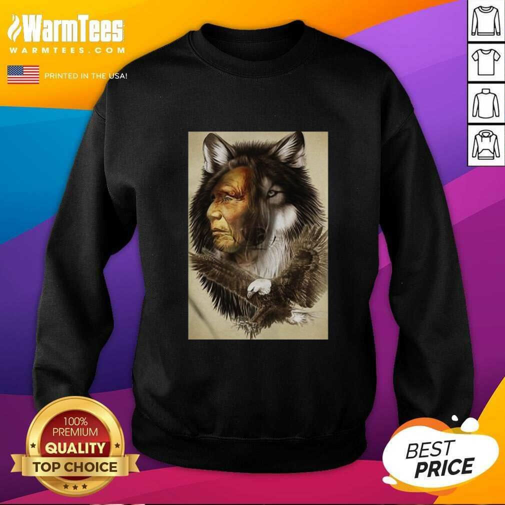 Native American Indian Wolf Eagle SweatShirt - Design By Warmtees.com