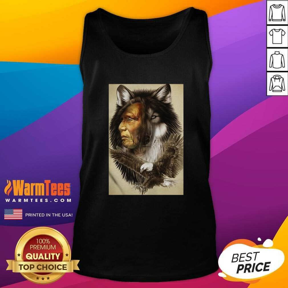 Native American Indian Wolf Eagle Tank Top - Design By Warmtees.com
