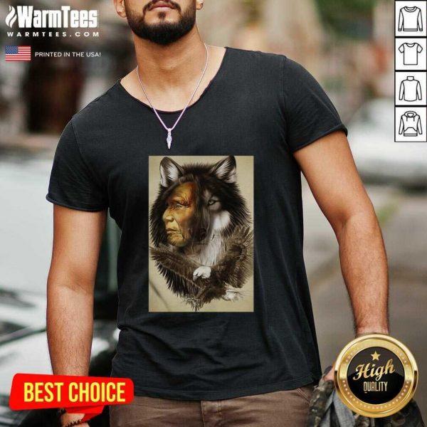 Native American Indian Wolf Eagle V-neck - Design By Warmtees.com