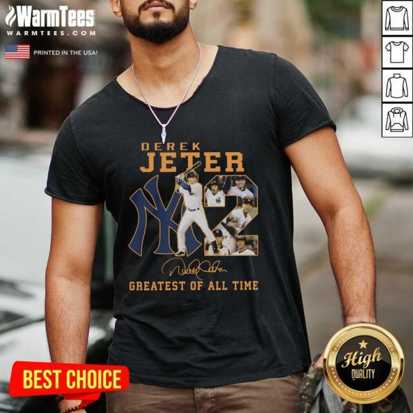 NY2 Derek Jeter Greatest Of All Time Signature V-neck - Design By Warmtees.com