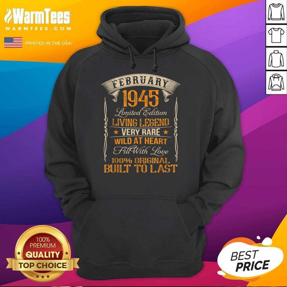 Vintage Born In February 1945 Living Legend Hoodie