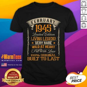 Vintage Born In February 1945 Living Legend Shirt