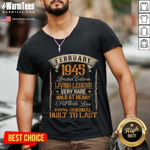 Vintage Born In February 1945 Living Legend V-neck