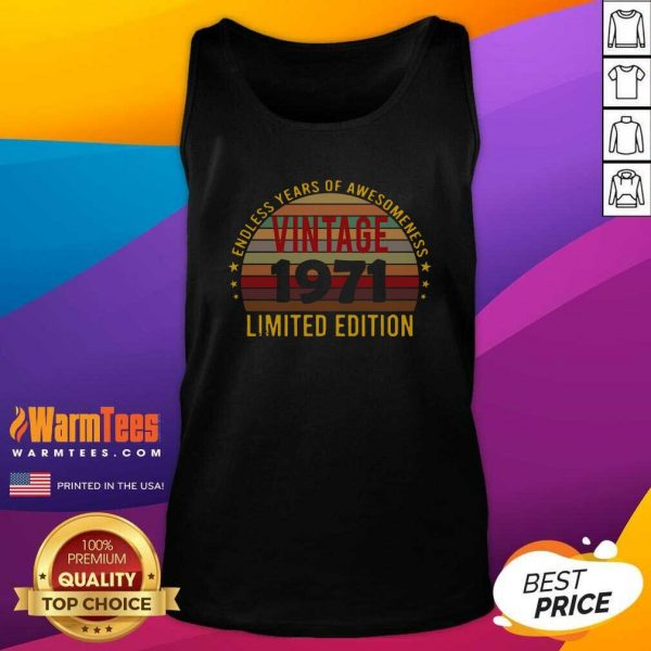 50 Year Old 50th Birthday Decorations 1971 Vintage Retro Tank Top - Design By Warmtees.com