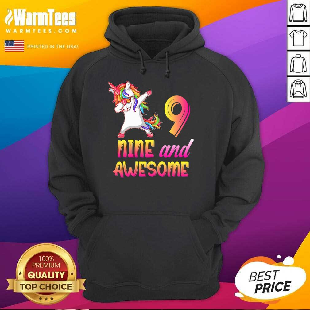 9th Birthday Girl Gift, 9 Year Old Girl Birthday, Nine And Awesome Hoodie